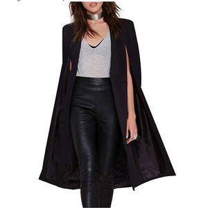 Women's Longline Blazer Cape - black